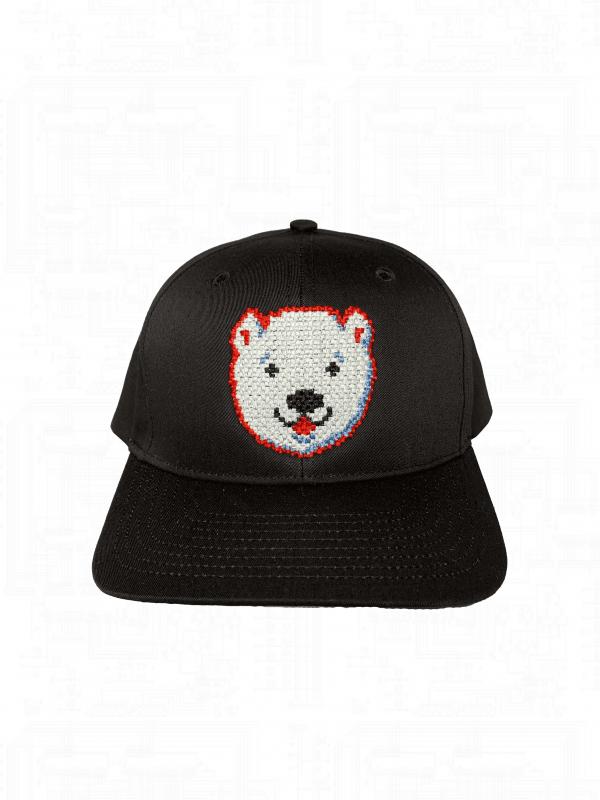 Black Polar Bear Hat Velcro